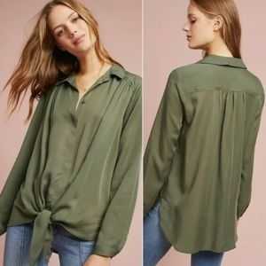 Anthropologie | Maeve Tuesday Green Tie Top